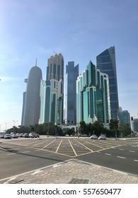 Doha, Qatar Skyline, view of beautiful high rise buildings and financial centre.