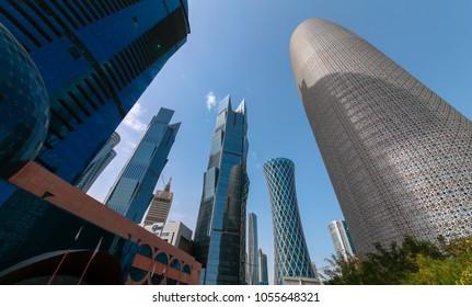 DOHA, QATAR - West Bay in Doha. MAR 2018 in Doha / Qatar, Middle East.