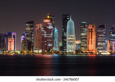 Doha skyline at night, Qatar, Middle East