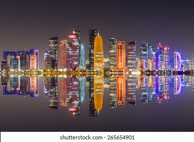Doha skyline night scene - The Capital City of Qatar