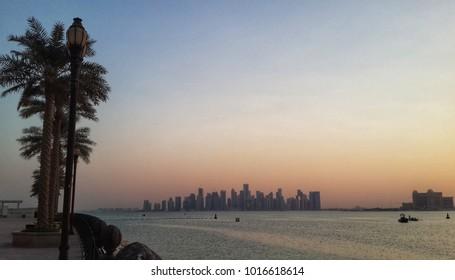 Doha skyline, sunset