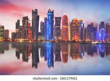 Doha skyline of West Bay Center during sunrise, Qatar