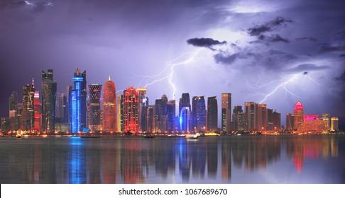 Doha at storm with lightning bolt, Qatar