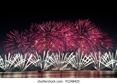 DOHA-DEC 18: Qatar National Day is celebrated with a spectacular fireworks display on Dec 18, 2011 in Doha, Qatar.