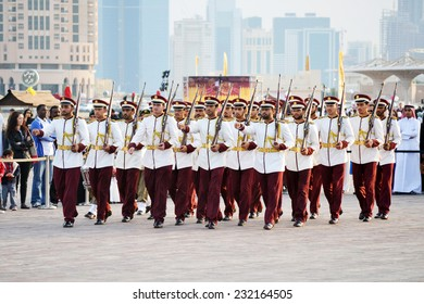 DOHA/QATAR - DECEMBER 18: Qatar Emiri Guards are performing military marches on Qatar National Day on the 18th of December 2012. The event is held on December 18th of every year since 2007.