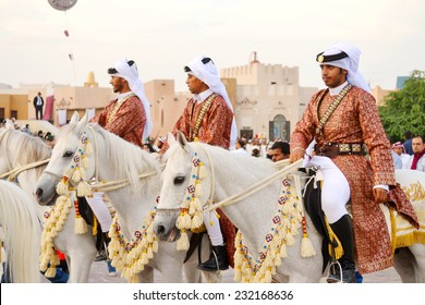 DOHA/QATAR - DECEMBER 18: Qatar Emiri Knights are performing military stand on Qatar National Day on the 18th of December 2012. The event is held on December 18th of every year since 2007.