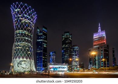 Doha,Qatar on 1st Mar 2018: High rise properties on West Bay occupied by oil and Gas businesses plus banks and residential apartments in downtown Doha the capital city of Qatar