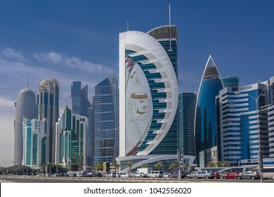 Doha,Qatar on 26th Feb 2018:The tallest buildings in Doha are located in the zone of West Bay. The towers are mainly occupied by oil/gas businesses but there are also residential properties & banks.