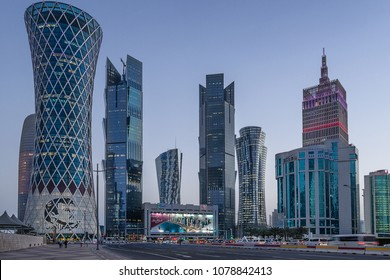 Doha,Qatar on 28th Mar 2018: High rise properties on West Bay occupied by oil and Gas businesses plus banks and residential apartments in downtown Doha the capital city of Qatar