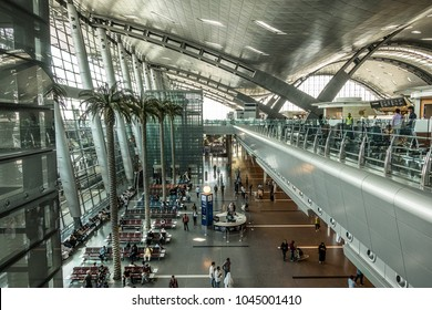 Doha,Qatar on Mar 5th 2018: Hamad International Airport is the airport of Doha, the capital city of Qatar. In 2016, the airport was named the 50th busiest in the world by passenger traffic