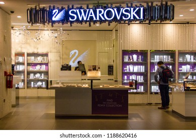 4ff641154fc Doha/Qatar - September 17 2018: Swarovski retail shop with exclusive  jewelry and designs
