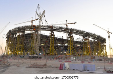 DOHA,QATAR-Feb 15, 2020 : A general view of the Lusail Stadium under construction which is scheduled to host the opening and final matches of the Qatar 2022 FIFA World Cup.