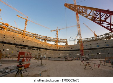 DOHA,QATAR-Feb 15, 2020 : A general view of inside the Lusail Stadium under construction which is scheduled to host the opening and final matches of the Qatar 2022 FIFA World Cup