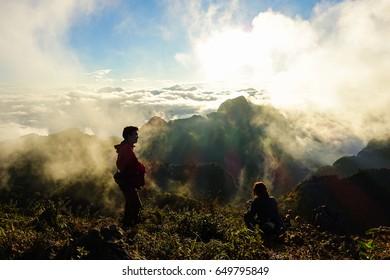 DOI LUANG CHIANG DAO, THAILAND - JANUARY 6, 2017. The tourists watching view of sunset at Doi Luang Chiang Dao in Chiang Mai, Thailand.