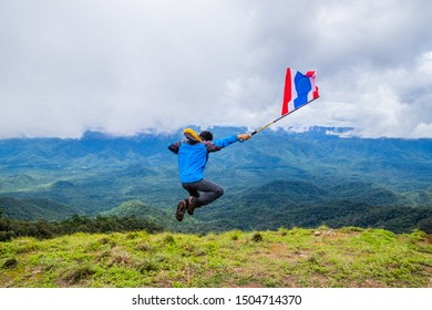 Doi Luang Tak, Tak Province, Thailand. AUGUST 31,2019: Hikers are jumping and happy to the rain forest at Doi Luang Tak,Tak Province,Thailand.