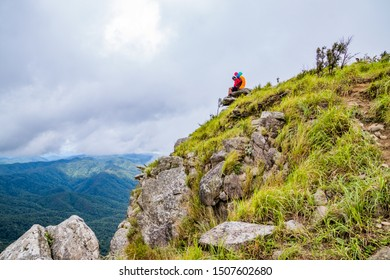 Doi Luang Tak, Tak Province, Thailand. AUGUST 31,2019: Hikers are sitting and happy to the rain forest at Doi Luang Tak,Tak Province,Thailand.