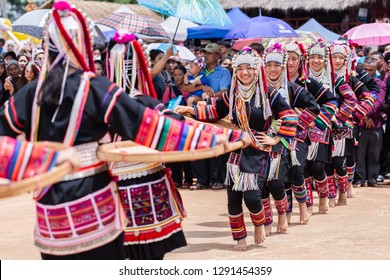 Doi Mae Salong, Chiang Rai - THAILAND, September 8, 2018 : Akha Hill tribe minority traditional dancing on Akha Swing Festival. The annual Akha Swing Festival is pretty much about women and fertility.