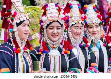 Doi Mae Salong, Chiang Rai - THAILAND, September 8, 2018 : Beautiful young asian lady Akha tribe on Akha Swing Festival. The annual Akha Swing Festival is pretty much about women and fertility.