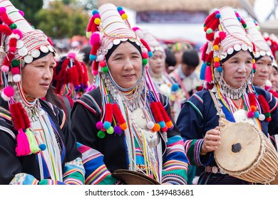 Doi Mae Salong, Chiang Rai - THAILAND, September 8, 2018 : Akha hill tribe with traditional clothes on Akha Swing Festival. The annual Akha Swing Festival is pretty much about women and fertility.