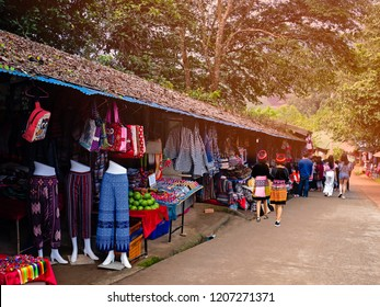 Doi Mon jam Market Chiang Mai Thailand Unidentified tourists shop in the roadside shop at Doi Mon jam Chiang Mai Thailand