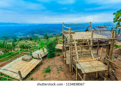 Doi Sango viewpoint is on the high and large mountain not far from the golden tri angle viewpoint. Doi Sango have bamboo huts bamboo stage for camping bamboo bridge and bamboo swing