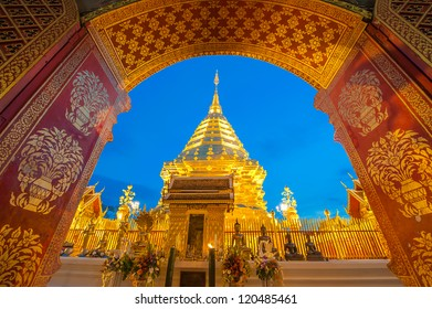 Doi Suthep Pagoda in the early morning. Chiang Mai Thailand