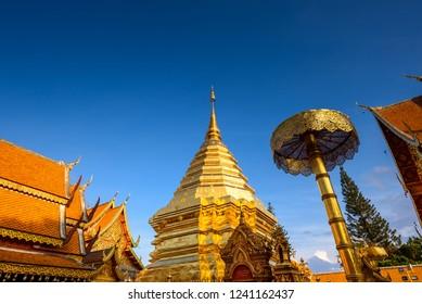 Doi Suthep temple in  blue sky , Chiangmai , Thailand The most popular temple in Chiangmai.