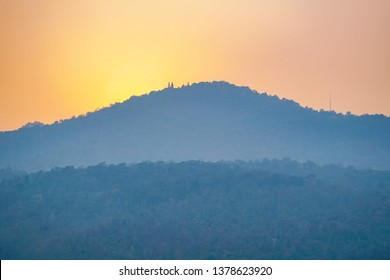 Doi suthep view from Angkaew Souvenir,Chiangmai University, on bad air day at evening sunset, March 2018
