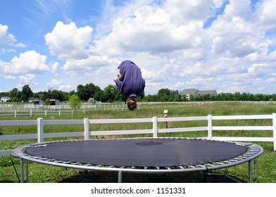 Doing a flip on a trampoline, stop-motion upside-down