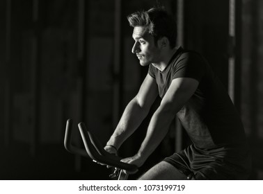 Doing some cardio workout on a bike