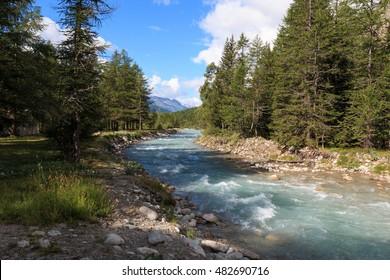 Doire de Ferret, a tributary stream of the Dora Baltea, in Val Ferret (Aosta Valley)
