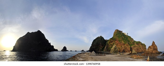 Dokdo East Island and West Island View from the Pier, korea