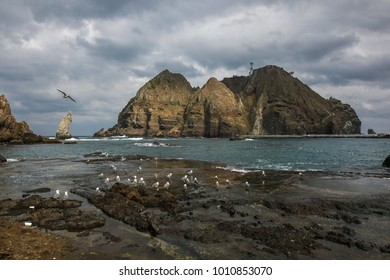 Dokdo a panoramic view of the Eastern Island. Dokdo is a small island located in the east end of the Republic of Korea.
