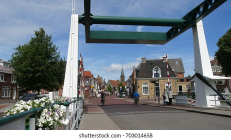 DOKKUM, HOLLAND - CIRCA JULY 2017: the drawbridge of the village of Dokkum, Frisian province, Holland.