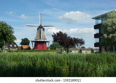 Dokkum, The Netherlands - july 09 2017:  Corn mill ' De Hoop ' stands on the stronghold of the fortified city Dokkum