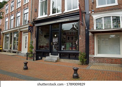 Dokkum, the Netherlands - July 16, 2020: Entrance of city brewery Bonifatius in the Dutch town of Dokkum.