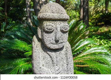 Dol hareubang, also called tol harubang, hareubang, or harubang - Traditional Statue Guard of Jeju Island in South Korea. Sculpture Made of Volcanic Rock
