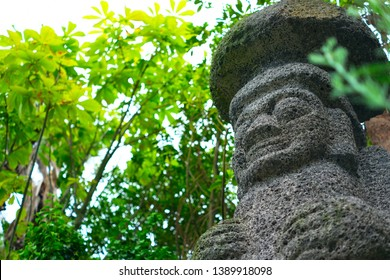 Dol hareubang is a traditional stone statue of Jeju Island in Korea.