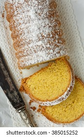 Dolce Varese, made with corn flour and ground almonds, typical cake from Varese, Lombardy, Italy
