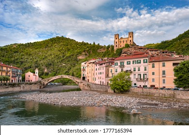 Dolceacqua in Ventimiglia, Imperia district, Liguria (Italy). Medieval Castle in Liguria Riviera, Castello dei Doria, Old Bridge, Historical Castle.