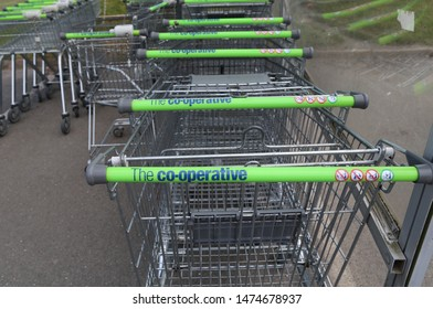 Dolgellau, Gwynedd, Wales, UK.  August 8, 2019.  A closeup view of some shopping trolleys belonging to the Co-operative supermarket.