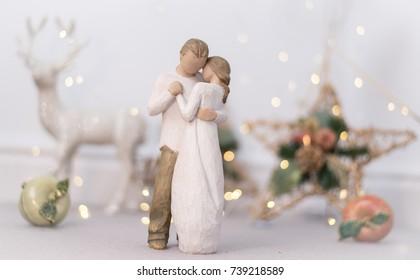 Doll couple dancing, wedding/christmas theme with fairy lights