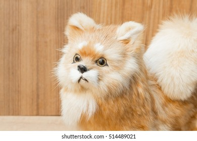 doll dog close up toy cute beautiful on wooden floor background