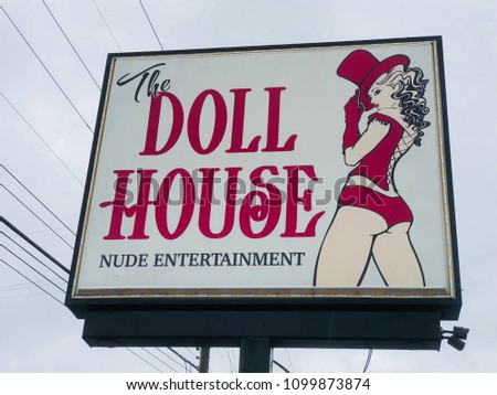 Doll House Adult Nude Entertainment Sign Stock Photo Edit Now