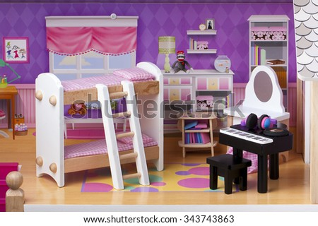 Doll House Closeup Bedroom With Furniture Childhood Toy