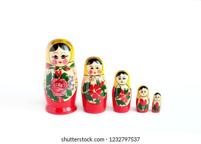 doll set Matryoshka  of 5 pieces on a white background