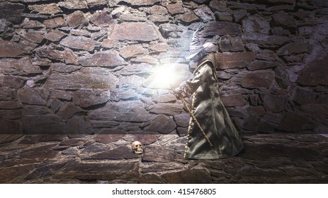 Doll of a wizard in a dungeon