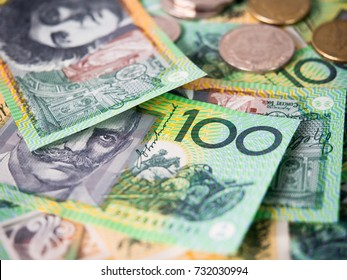 Dollar australia banknotes and coins for money concept.