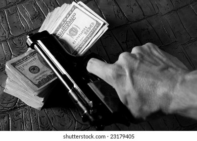 Dollar bank notes with human hand with gun. Black and white retro mafia.