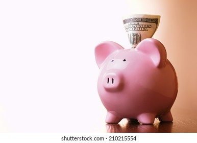 Dollar banknote in the slot of a pink ceramic piggy bank on a blue background with a highlight for copyspace in a financial and savings concept